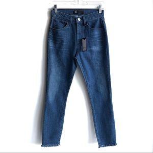 3X1 Skinny High Rise Ankle Crop Raw Hem Blue Jeans